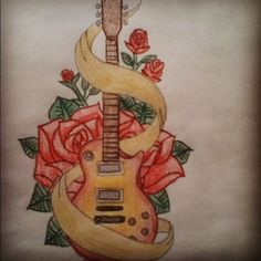 rose tattoos with guitar for men - Google Search