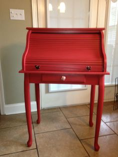 Painted roll top desk. Red Painted Furniture, Paint Furniture, Repurposed Furniture, Unique Furniture, Painted Dressers, Desk Makeover, Furniture Makeover, Small Roll Top Desk, Office Pods