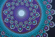 Gorgeous Dot Mandala Painting! 12 x 12 original acrylic painting on wrapped canvas. Painting is sealed and ready to hang. Sides are painted black and measure ~.75 (~3/4 of an inch)  Main colors in this painting are Purple,Teal, Green, Copper and White. Background is painted Black.  Please be aware that colors reflected on your screen may vary slightly from exact color in person. I use un-altered natural lighting in all my pictures.  ***Each canvas piece comes with a signed and dated Cert...