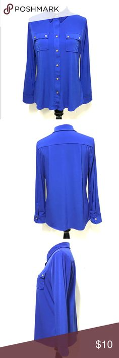 Ellen Tracy cobalt blue long sleeve shirt Easy, flowy color of the moment Ellen Tracy beauty. Polyester spandex blend. Ellen Tracy Tops Button Down Shirts