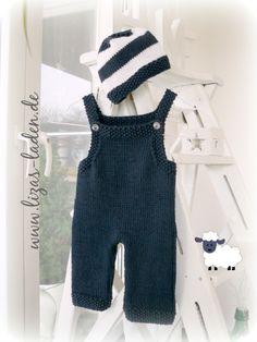 Blauer Babystrampler und blau-weißes Mützchen aus LANA GROSSA Organico