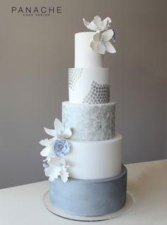 contemporary weddingcakes wedding cake textured marble effect wedding cakes London fantasy sugar flowers winter cooltoned