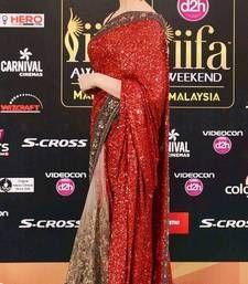 Buy Redish  Maroon sequins georgette and half net designer saree deepika-padukone-saree online