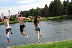 Jumping into the Payette River