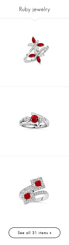 """""""Ruby jewelry"""" by ka25 ❤ liked on Polyvore featuring jewelry, rings, white gold ruby ring, ruby ring, 14 karat gold ring, white gold jewellery, 14k ring, 14k diamond ring, three stone ring and white gold diamond rings"""