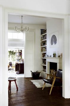 dark floors in the living room & white walls Alcove Shelving, Home And Living, Interior, Victorian Terrace Interior, Modern Room, House, White Living, Vintage Living Room, House Interior