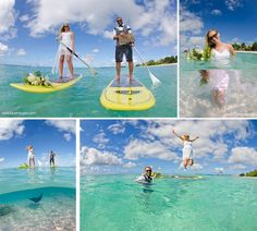 Stand up Paddle Boarding Bride & Groom in Grand Cayman by www.deepblueimages.com