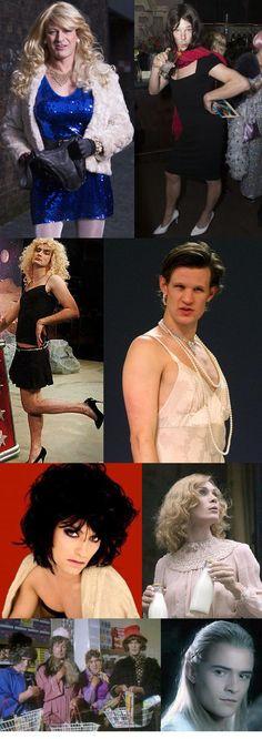 Oh nothing, just British actors in drag: Sean, Benedict, David, Matt, Jude, Cillian, Monty Python, and Orlando (Legolas counts).