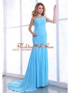 One Shoulder Decorate Bodice Ruching Light Blue Chiffon Brush Train 2013 Prom Dress- $156.59  http://www.fashionos.com  | homecoming dress magazine | wholesale dama dresses | best seller celebrity dresses | eye catching cocktail gowns |