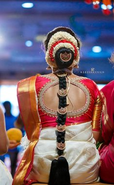 "Photo from album ""Wedding photography"" posted by photographer Rakesh Konaje Photography Indian Bridal Hairstyles, Bun Hairstyles, Wedding Hairstyles, Hairdo Wedding, Saree Wedding, Bridal Blouse Designs, Saree Blouse Designs, Indian Flowers, Wedding Preparation"