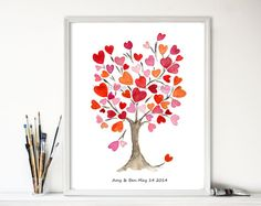 Hearts tree art print Personalized art print by TheJoyofColor