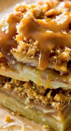 Salted Caramel Apple Pie Bars...