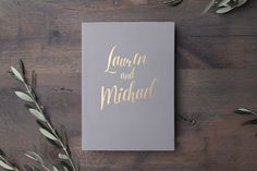Wedding Album Gray with Gold Lettering Guest book Instax