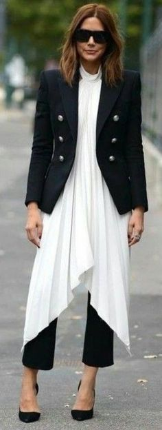 Black Tailored Double Breasted Blazer, White V Hem Dressn Black Crop Pants and Heels | Christine Centenera