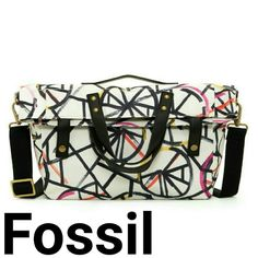 """NEW Fossil gordon fold over tote multi - Dual top handle and single convertible handle - Foldover flap with snap button closure - Exterior features allover print - Interior features slip pockets - Approx. 13"""" H x 17"""" W x 4.5"""" D - Approx. 3.75"""" handle drop, 14-28"""" strap drop - Imported  Materials:  Textile exterior and lining  Care:  Wipe clean with a soft dry cloth Fossil Bags Totes"""