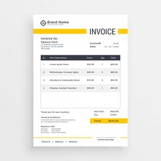 minimal yellow invoice template vector design Free Vector Source by Gao_tt Invoice Design Template, Letterhead Design, Letterhead Template, Brochure Design, Templates, Dashboard Design, Form Design, Vector Design, Corporate Identity