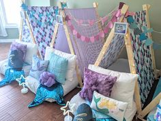 Purple and Teal Mermaid Tail Garland made with Cricket Maker! 9th Birthday Parties, Third Birthday, Slumber Parties, Boy Birthday, Birthday Ideas, Madonna Birthday, Kids Party Themes, Party Ideas, Kids Sleepover
