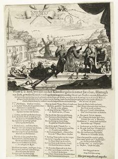 Anonymous | Spotprent op Jacobus II na het verlies bij Kaap la Hogue, 1692, Anonymous, 1692 | Spotprent op de Engelse koning Jacobus II na de overwinning van de Hollanders en Engelsen op de Fransen in de slag bij Kaap la Hogue in het Kanaal, 29 mei t/m 3 juni 1692, en op zijn voornemen het klooster in te gaan. Jacobus als een monnik met gebroken kroon en geknakte scepter neemt afscheid van koning Lodewijk XIV met een afscheidsdronk. Achter de koning en jezuïet met een verrekijker. Links het…