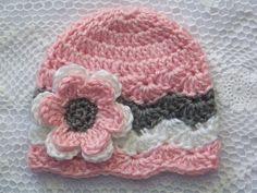 Crochet Baby Hat Newborn Baby Chevron Hat by crochethatsbyjoyce