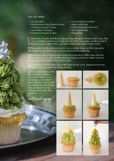 Christmas tree cupcakes made with an ice cream cone center structure