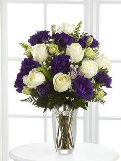Purple Flower Bouquets | Purple  white flowers in a keepsake Vera Wang vase - Dream's ...
