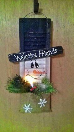 Snowman shutter, I love the shutter idea! Christmas Wood, Primitive Christmas, Christmas Signs, Christmas Snowman, Christmas Projects, Winter Christmas, All Things Christmas, Christmas Holidays, Christmas Ornaments