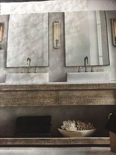 Restoration Hardware Catalog, Bathroom Lighting, Small Spaces, Vanity, Mirror, Furniture, Ideas, Home Decor, Bathroom Light Fittings
