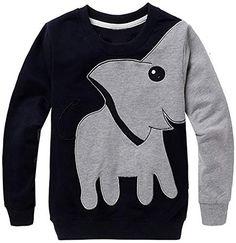 Tecrok Little Boys' Crewneck Sweatshirt Elephant Dinosaur Print Sport Pullover Top Years – A – Elephant – - sweatshirt fashion Sports Sweatshirts, Cute Sweatshirts, Sports Shirts, Baby Outfits, Kids Outfits, Elephant Sweater, Sport Pullover, Boys Sweaters, Outdoor Outfit