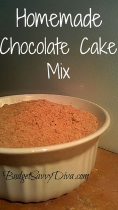 Make Your Own Chocolate Cake Mix: 2 cups all-purpose flour cup nonfat dry milk 3 teaspoons baking powder ¾ teaspoon salt 1 ½ cups white sugar ½ cup plus 1 tablespoon shortening ¼ cup cocoa. Chocolate Cake Mix Recipes, Homemade Chocolate, Cake Recipes, Chocolate Ganache, Homemade Cake Mixes, Homemade Seasonings, Homemade Spices, Recipe Mix, Just Desserts
