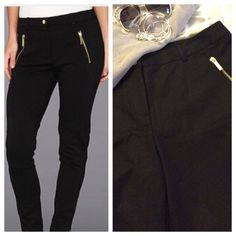 """MK skinny pants Beautiful black pants with polished gold zippers at front pockets and dual slit back pockets. Skinny cut with comfortable high rise; 3% spandex for excellent movement and fit. Tagged as size 12; Measurements when laying flat: 18"""" waist and 28.5"""" inseam. Perfect NWT condition. Staple for any closet. Michael Kors Pants Skinny"""