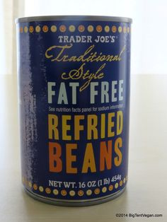 Traditional Style Fat Free Refried Beans #vegan