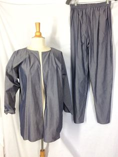 Zoran 2 Piece Pants and Open Jacket 100% Cotton Made in Italy Elastic Waist  | eBay