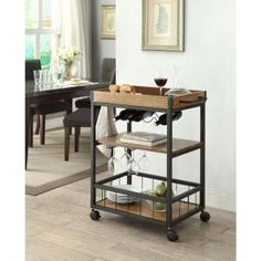 Linon Home Decor 30 in. W Austin Wood Mobile Kitchen Cart with Wine Rack 464908MTL01U at The Home Depot - Mobile