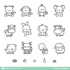 MAMA ELEPHANT: Lunar Animals x 6 Clear Photopolymer Stamp Set) Set includes Lunar Animals: seventeen image stamps. *Coordinates with Lunar Animals Creative Cuts die. Doodle Drawings, Easy Drawings, Doodle Art, Simple Animal Drawings, Drawings Of Animals, Simple Cute Drawings, Cute Drawings For Kids, Mini Drawings, Tier Doodles