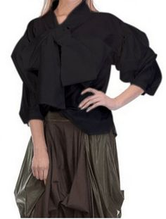 Fashionable Bow Tie Collar Lantern Sleeve Black Loose Blouse For Women Blouses | RoseGal.com Mobile