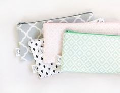 Zipper Pouch, Pencil Pouch, Pencil Case, Pink, MInt, Gray, Back To School, School Supplies, Women, Teens, Kids, Organize