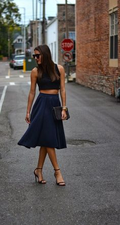 Midi skirt and cropped top