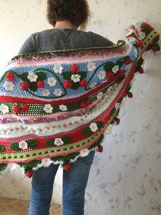 ON SALE  10% OFF Irish Crochet Strawberry Shawl...Freeform