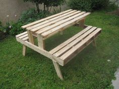Picnic table made with pallets for our garden
