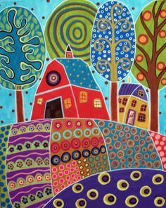 art idea: many patterns in bordered areas - inspired by RUG HOOKING PAPER PATTERN Barn Garden Landscape KARLA G | eBay