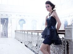 black cocktail bridesmaid dress with organza over skirt and lace detail.     US$ 309.00 off US$169.00