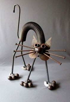 "VINTAGE Hand Made YARD ART CAT Welded Steel Folk Art 17 1/2"" JUNK SCULPTURE:"