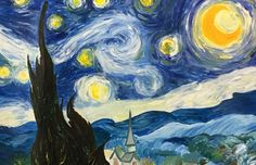 In class, we were asked to create a mini impressionism painting based off of one already made, so I decided to paint Van Gogh's Starry Night. For this painting, I used acrylic paint.