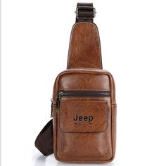 715f25a558 Details about New Jeep Chest Bag Man Leather Casual Messenger Bag Large  Capacity Bag