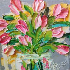 Pink  Tulip Floral Oil Painting Wall Decor by IronsideImpastos, $65.00