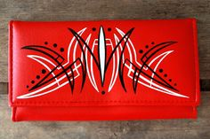 Lady's Wallet - Black & White Pinstriping.