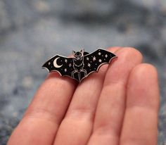 Creature of the Night Silver Cloisonné Pin by CatCoven on Etsy