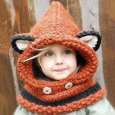 Women's Winter Hats 2016 fox scarf hat autumn winter scarf wool knitted cap baby winter hat balaclava children's hats new Year - Kapuzenschal Stricken Fox Scarf, Fox Hat, Scarf Hat, Baby Scarf, Bonnet Crochet, Knit Crochet, Crochet Hats, Crochet Winter, Free Crochet