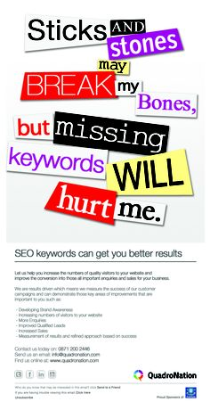 SEO - Let us help you increase the numbers of quality visitors to your website and improve the conversion into those all important enquiries and sales for your business.
