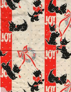 Scottie Joy vintage Christmas wrapping paper. SO cute for wrapping your doggies presents ;o)
